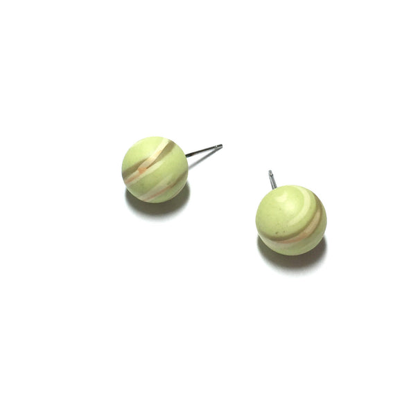 lime green striped studs