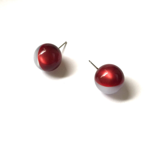 dark red grey studs
