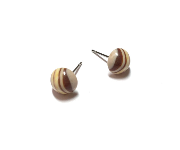 beige striped stud earrings