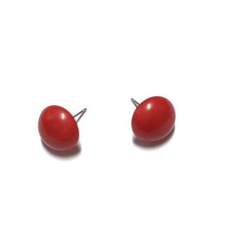 red button earrings