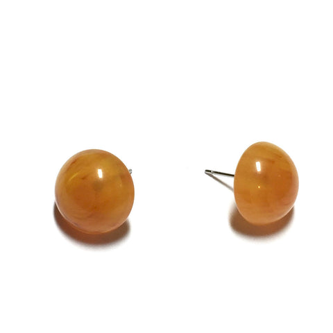 Amber Yellow Marbled Lucite Retro Button Stud Earrings