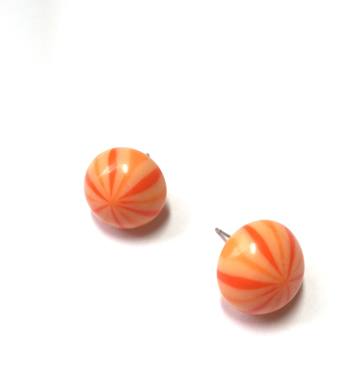 orange stripe stud earrings