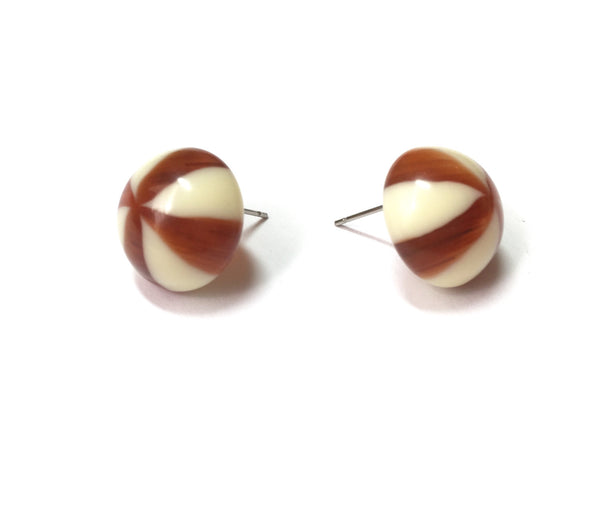 tortoise ivory button earrings
