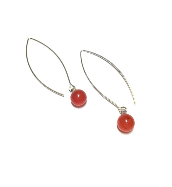 tomato red long earrings