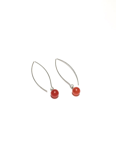 Tomato Red RainDrop Earrings | gold or silver | vintage lucite drop earrings