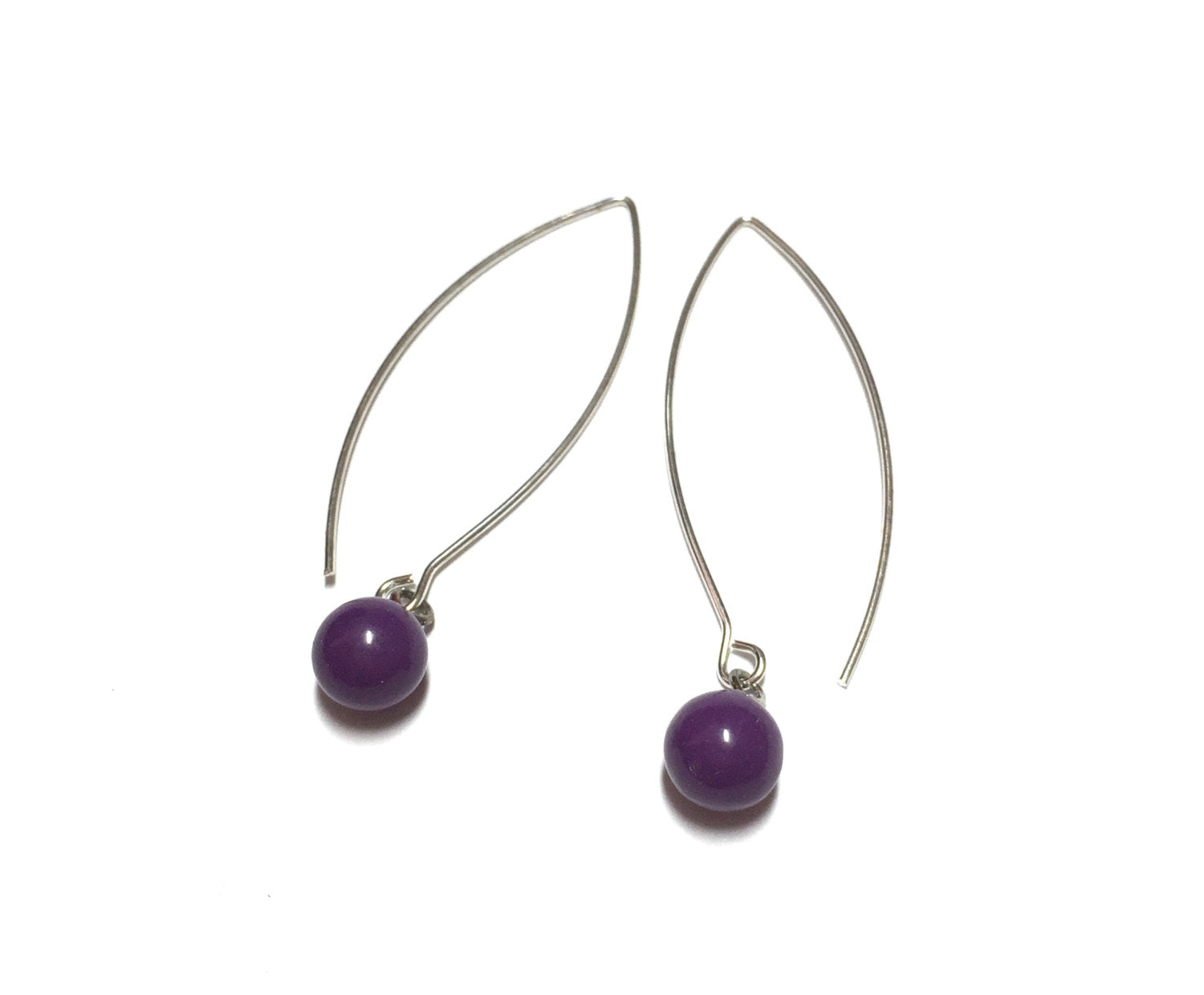 dark purple long earrings