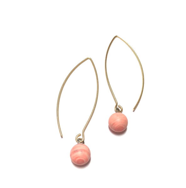 Pink RainDrop Earrings | gold or silver | vintage marbled matte lucite drop earrings