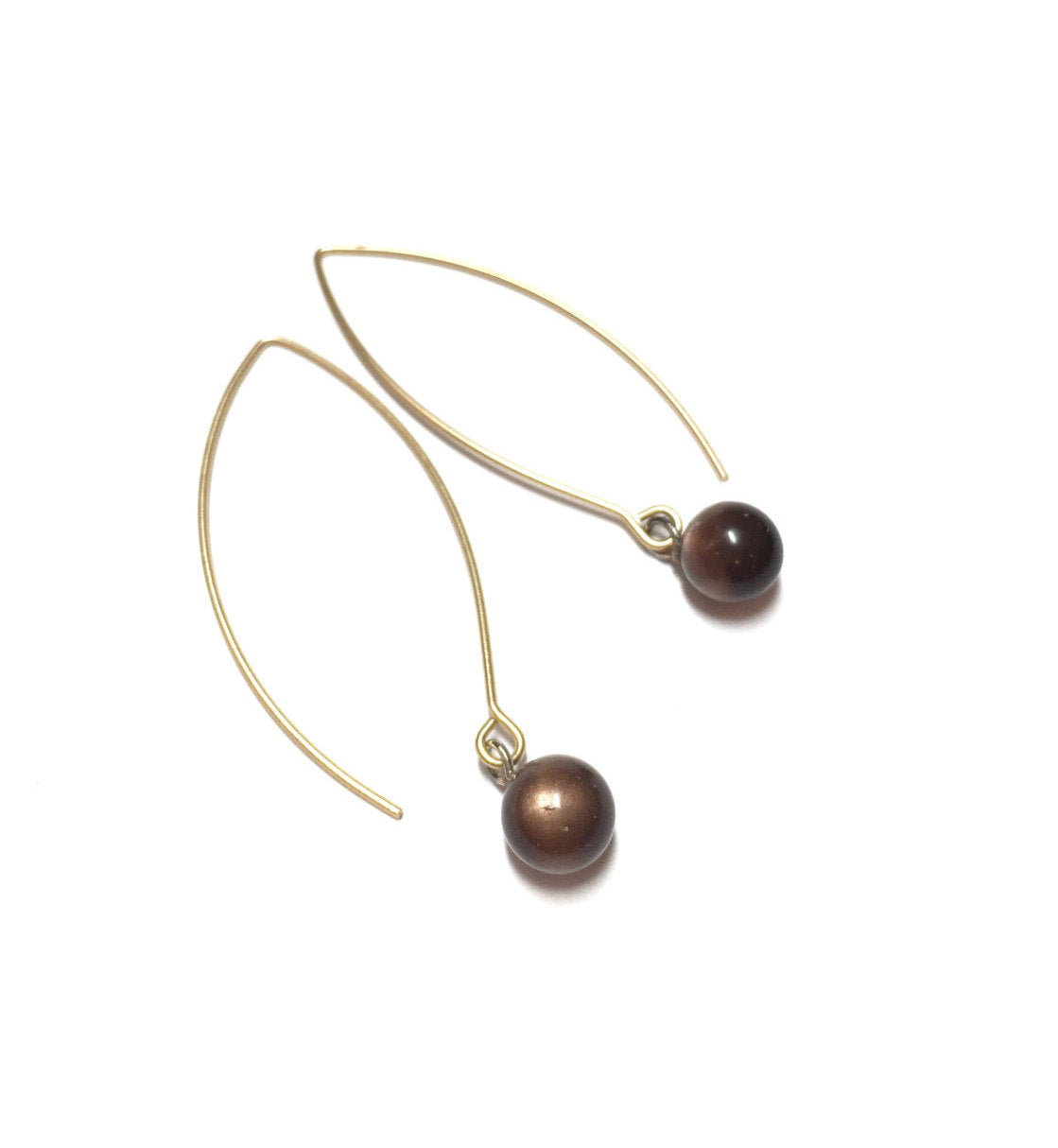 brown long drop earrings