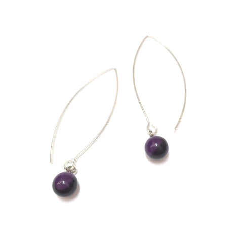 purple black drop earrings