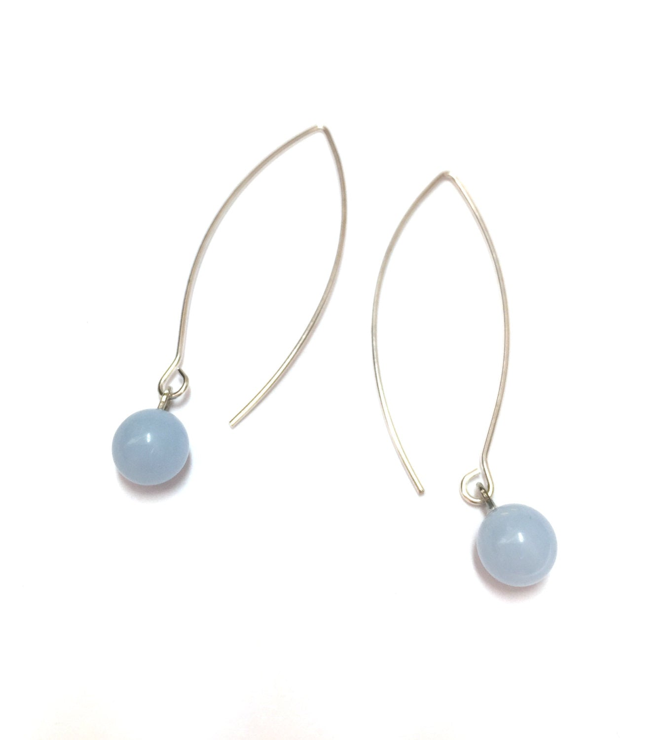light blue long earrings