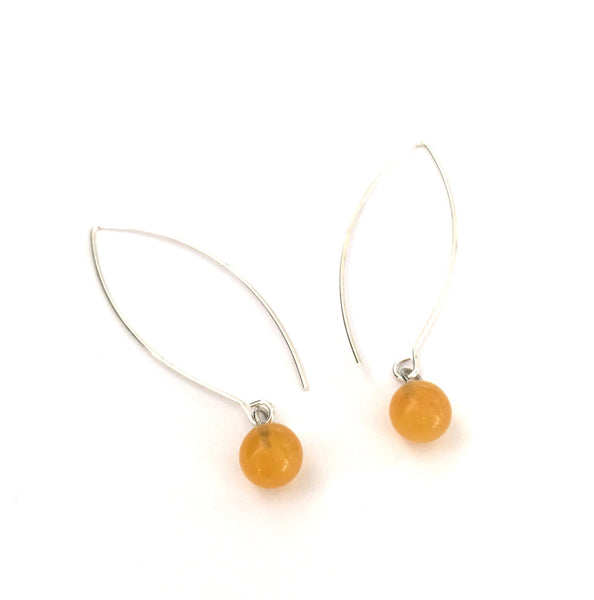 Light Amber RainDrop Earrings | gold or silver | long vintage lucite drop earrings