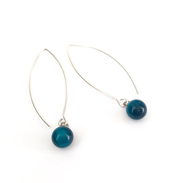 long teal earrings