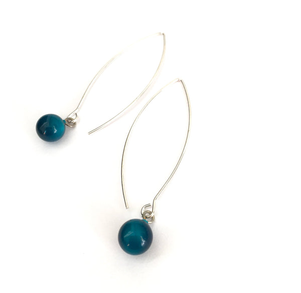 long teal drop earrings