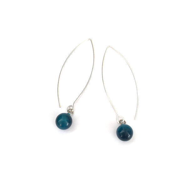 silver teal earrings