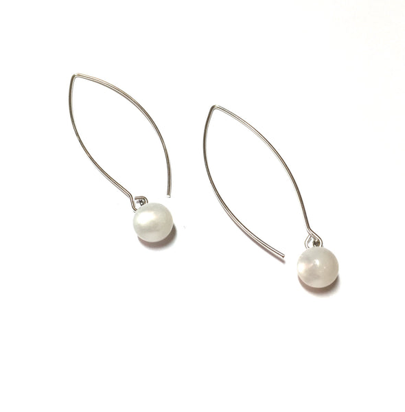 white raindrop earrings