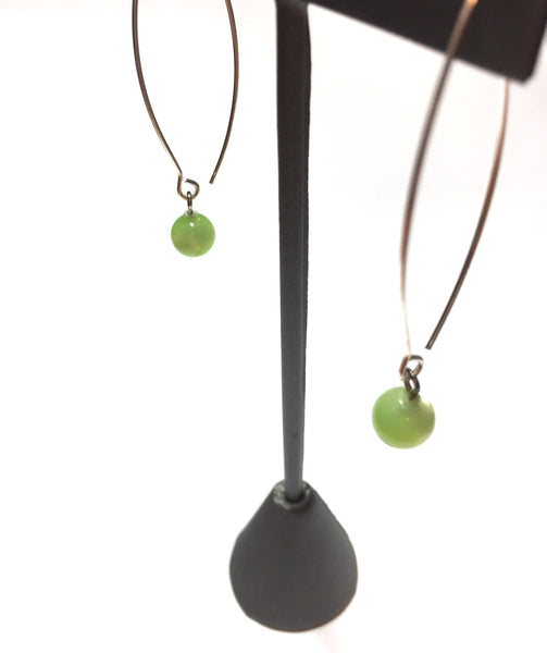 long chartreuse earrings