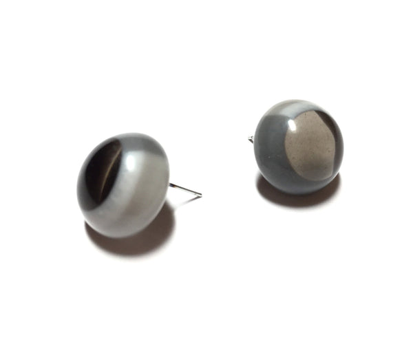 grey button earrings