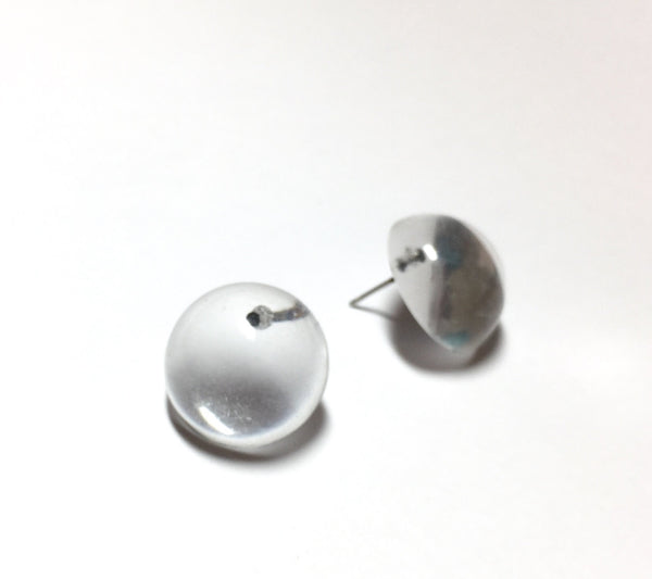 clear retro button studs