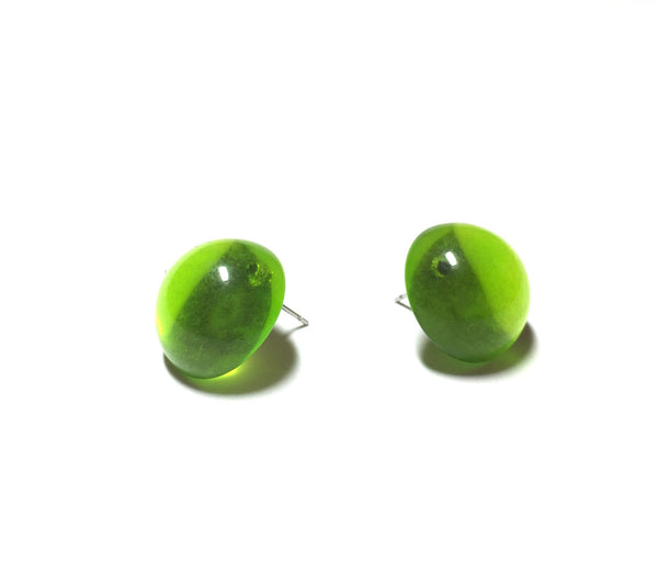 green transparent studs