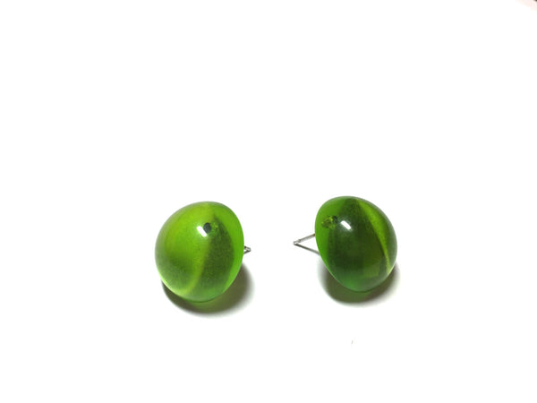 bright green clip on style earrings