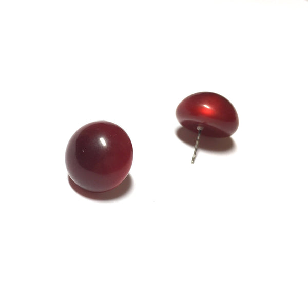deep red button earrings