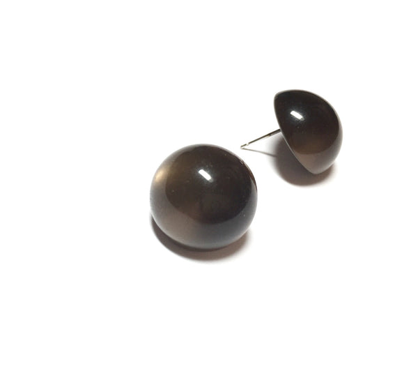 coffee color cabochon earrings
