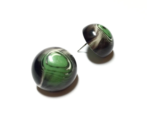 green marbled stud earrings