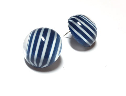 navy stripe earrings
