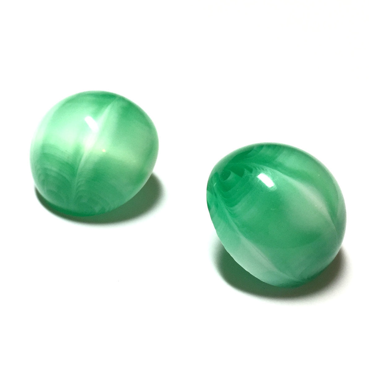 big green button earrings