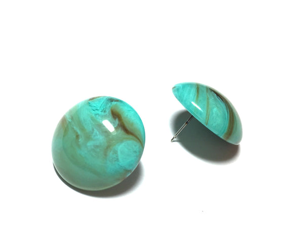 marbled turquoise stud earrings