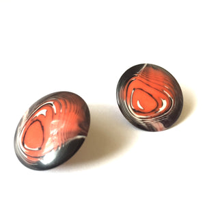 orange black stud earrings