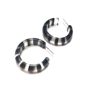 black striped hoop earrings