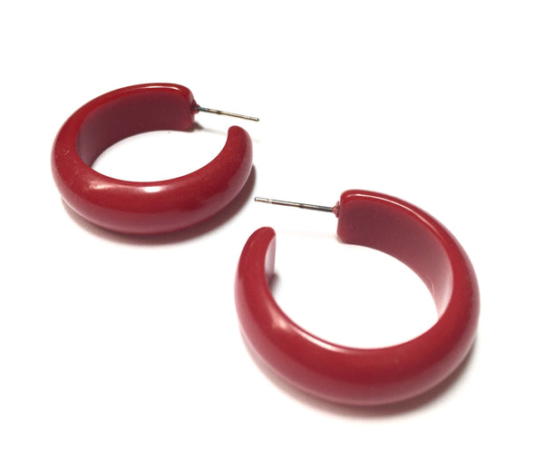 Red Lucite Simple Hoop Earrings