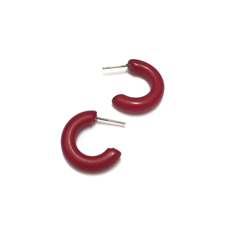 tiny dark red earrings