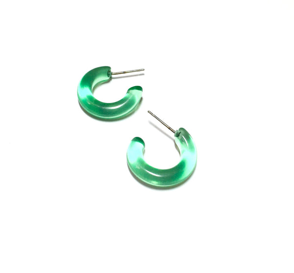 small green earrings transparent