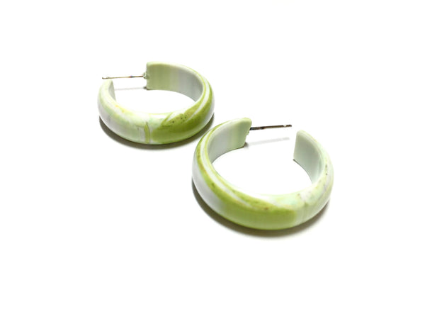 lime white hoop earrings