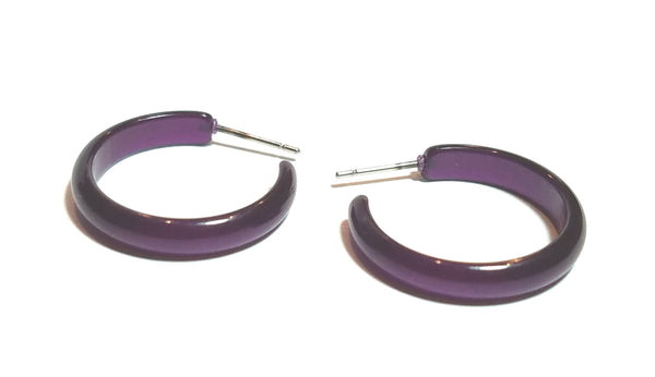 deep purple hoop earrings