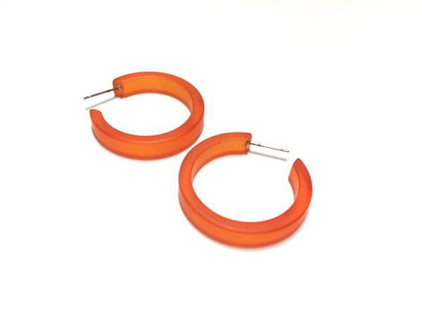 vintage frosted orange hoops