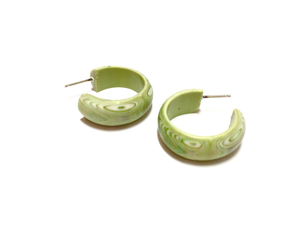 marbled green hoop earrings