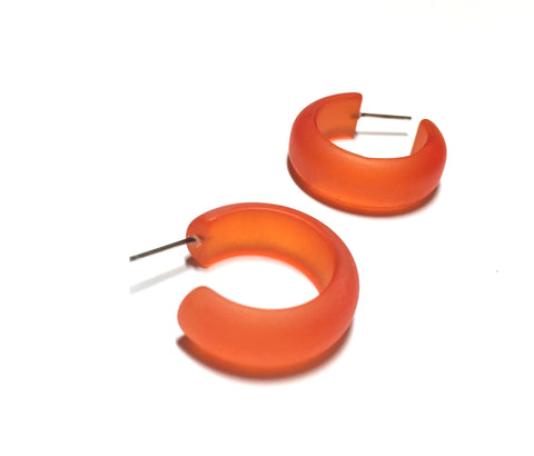 frosted orange hoop earrings