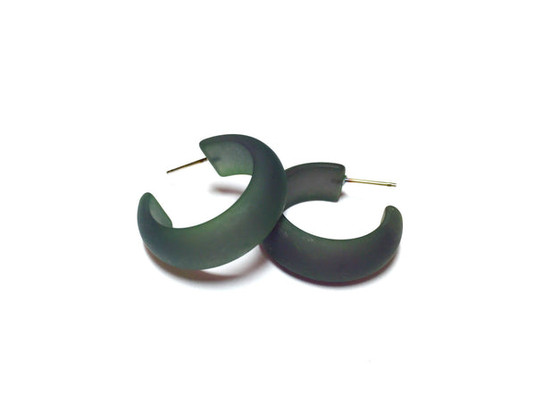 Dark Green Frosted Small Simple Hoop Earrings
