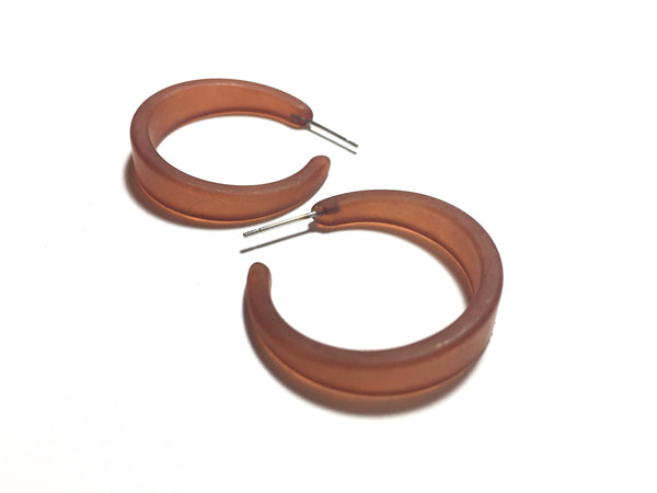 narrow hoop earrings brown