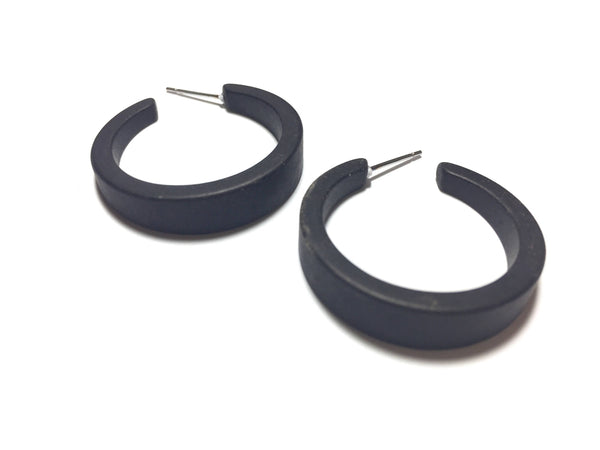black lucite tapered hoops