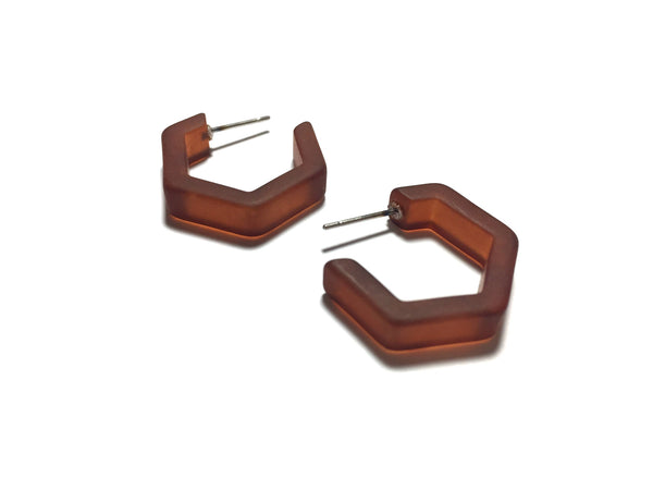 small brown hexagon hoops