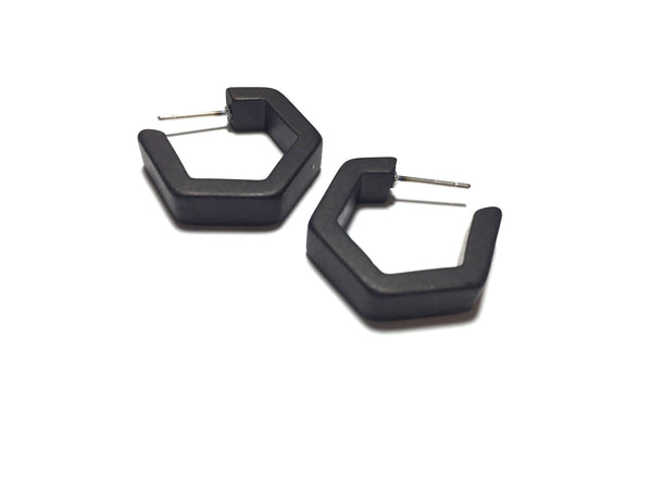 black hex hoop earrings
