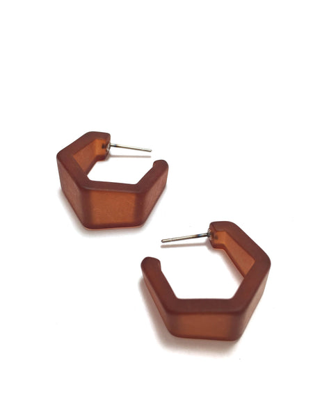 mahogany brown hex hoops