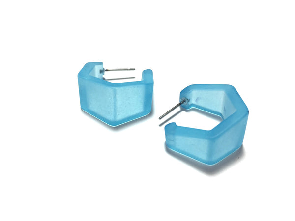 aqua blue lucite earrings