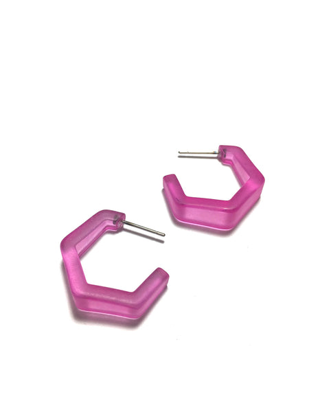 pink hex earrings