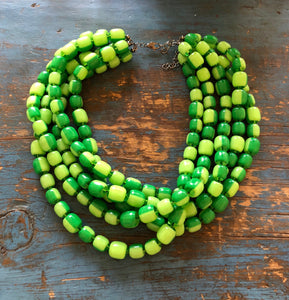 lime green statement necklace
