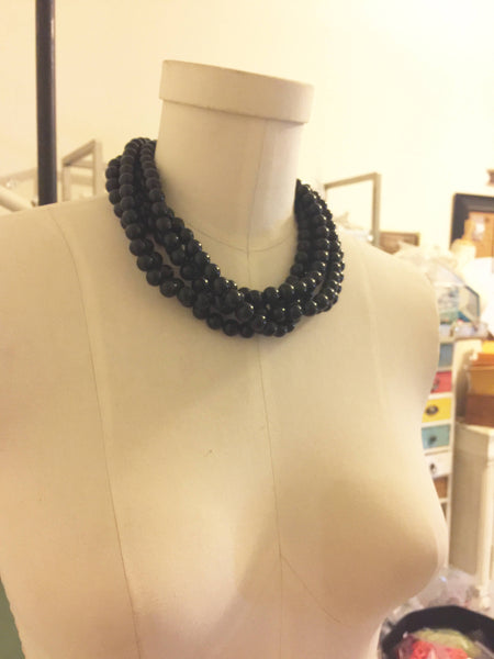 black beaded statement necklace